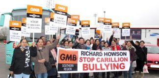 Striking Swindon hospital workers about to board the coach to take them to Wolverhampton to tell the bosses of Carillion exactly what they think of them