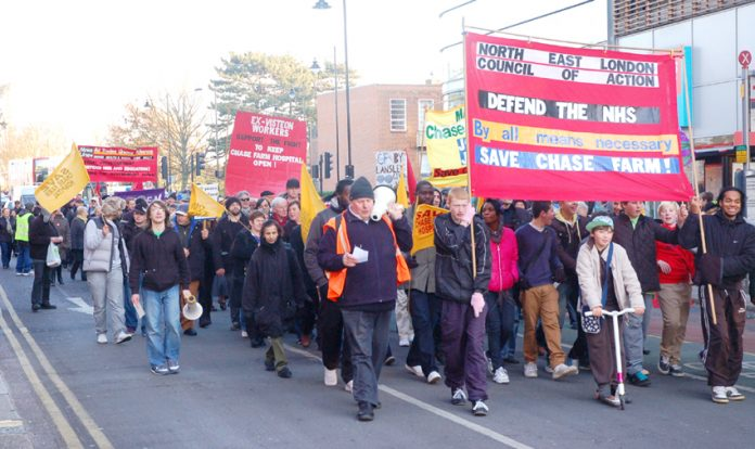 A section of last December's North East London's Council of Action march in Enfield to stop the closure of Chase Farm Hospital