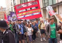 The North East London Council of Action banner on the Unite march to defend the NHS last July. Now the whole movement has taken up this demand