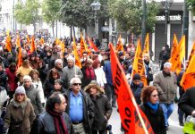 Secondary teachers on a march in Athens last month demanding the scrapping of the austerity measures