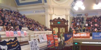 A packed Central Hall in Westminster on Wednesday where thousands urged TUC to call action to defend the NHS