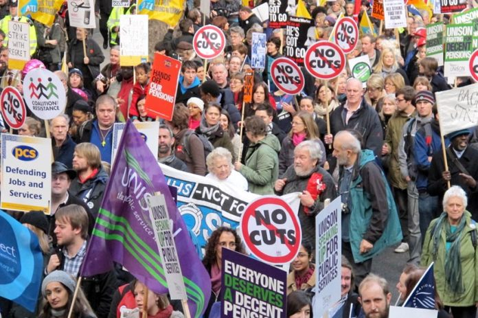 A section of the march through London on November 30 last year when two million public sector workers went on strike in defence of their pensions