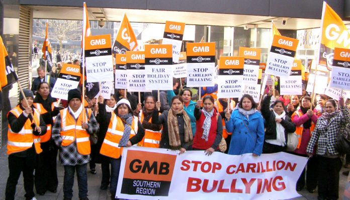 Swindon Hospital Carillion strikers outside the company's head offices in London