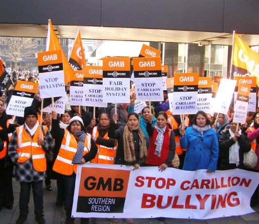 Carillion striking workers are marching through Swindon today