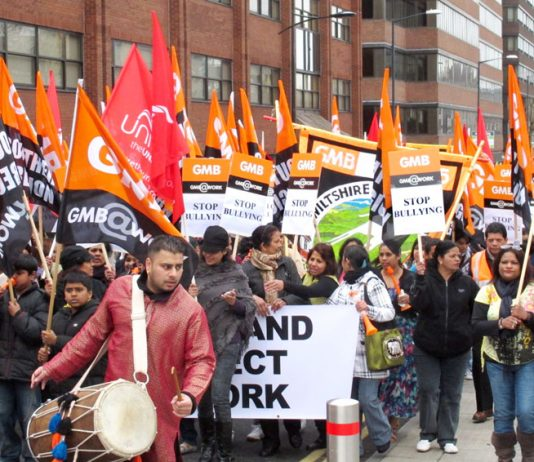 Indian drummers led the 500-strong march in Swindon on Saturday in support of striking Carillion ancilliary workers
