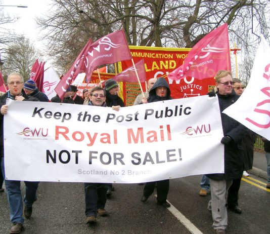 CWU members marching in Kingston in January last year against Royal Mail privatisation