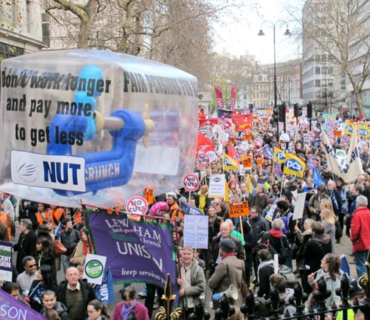 Teachers marching during the public sector workers' strike action to defend pensions last November 30