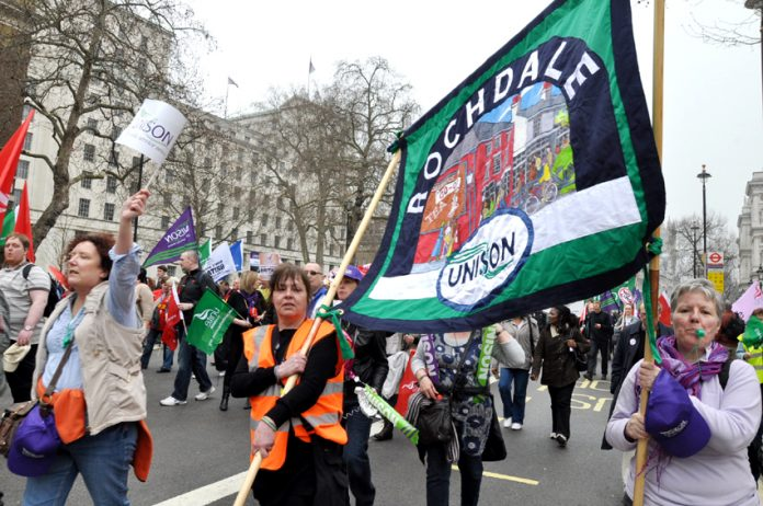 Rochdale Unison members marching against the coalition cuts last March