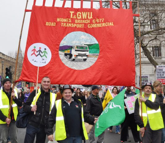 Unite lorry drivers on the last year's March 26 TUC demonstration against the coalition cuts