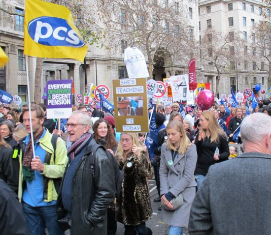 The PCS union walked out during the National Pension Strike