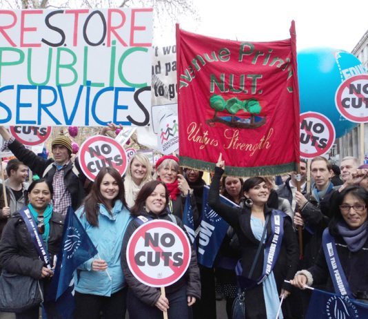 Youth and trade unionists stand together against pension cuts during last November's National Pension Strike