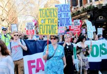 Teachers on yesterday's march from Malet Street to the Department of Education in Westminster