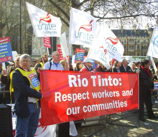 Unite members in London protest in support of Rio Tinto workers in Boron, USA during their lock-out in April 2010