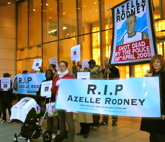 Family and supporters of Azelle Rodney protest outside the offices of the Independent Police Complaints Commission in December 2005.