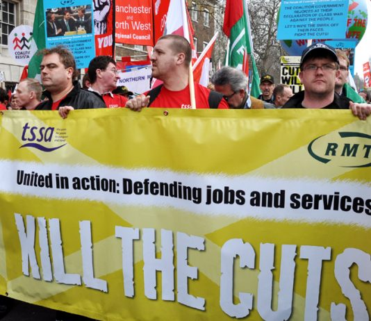 Rail workers on the TUC demonstration against the coalition's cuts on March 26 last year