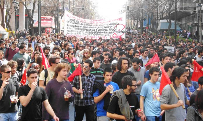 Greek youth on the march in Athens