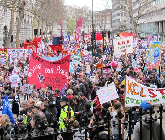 Teachers marching in London last November 30 during their strike action to defend their pensions