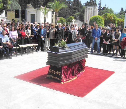 The coffin bearing the body of Dimitris Christoulas at the civil ceremony held in the central Athens cemetery