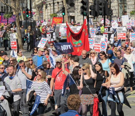 Teachers on the march to defend their national pay agreements and pensions – they are determined to defeat the coalition