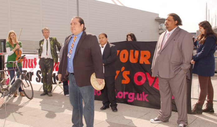 Tar Sands campaign leader Clayton Thomas-Muller addressing a press conference outside the BP AGM yesterday morning
