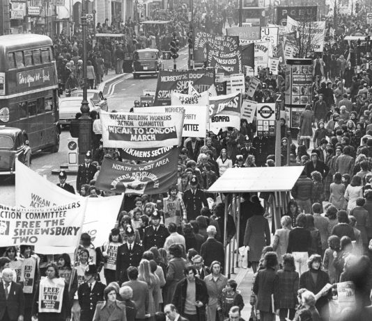 The 1975 Wigan-to-London march to free the Shrewsbury Two reaches London, where it had massive support