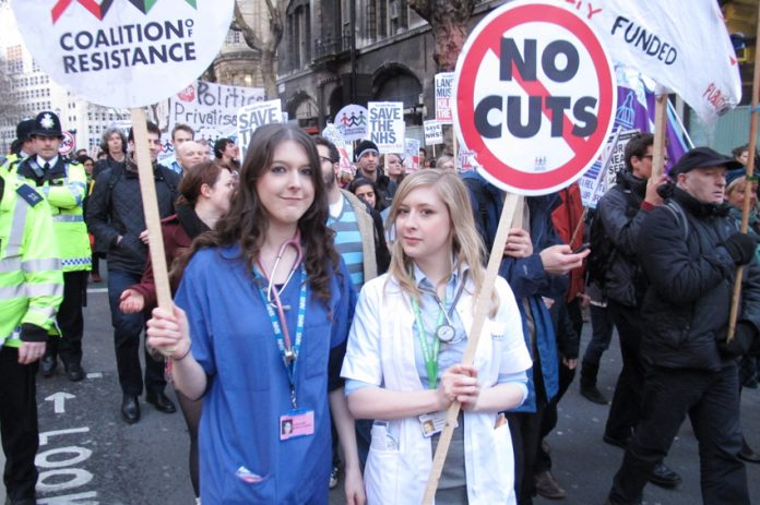 Thousands marched fromn the BMA headquarters to Westminster demanding that the NHS Health Bill be smashed – it is now law and workers are determined to fight it