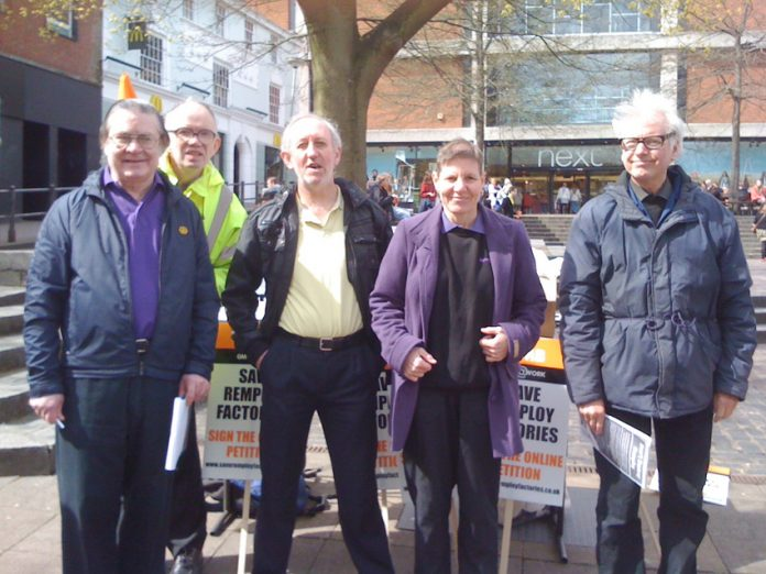 Part of the Norwich protest against the closure of Remploy factories. GMB official Glenn Holdom is 3rd from left
