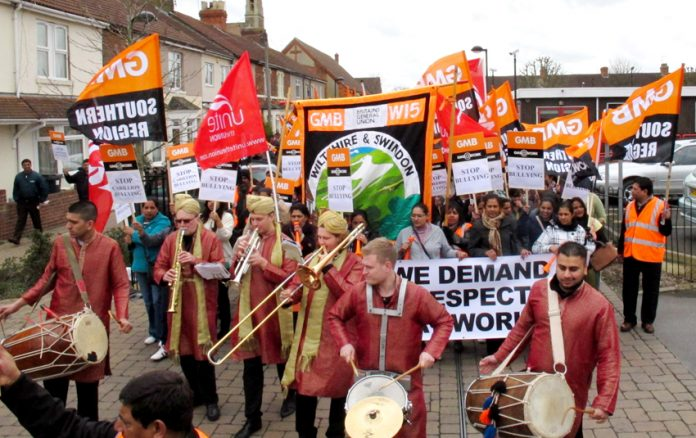 The Carillion strikers won great support on their march through Swindon