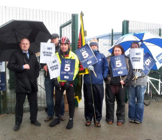 The NUT picket line at Ellis Guilford school in Nottingham yesterday – teachers are opposed to a 5-term year