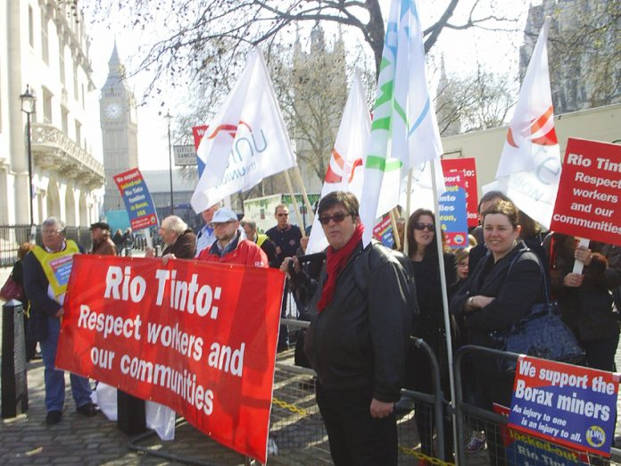 London demonstration outside a Rio Tinto shareholders meeting in April 2010