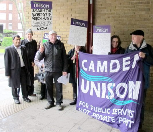 Camden Unison's picket outside Haverstock School yesterday