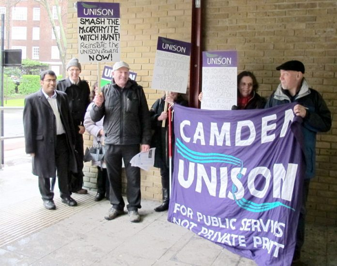 Camden Unison's picket outside Haverstock School yesterday