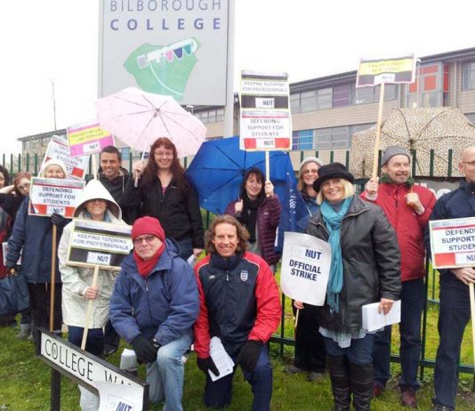 The 32-strong picket line at Bilborough College in Nottingham yesterday