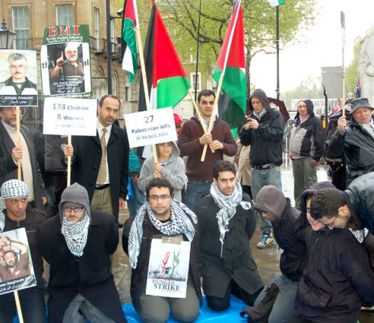 Palestinians and their supporters in London demonstrating in solidarity with Palestinian prisoners on hunger strike