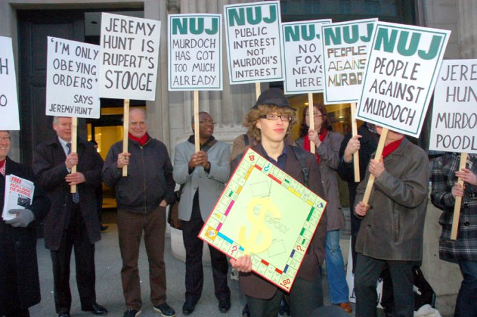 NUJ protest against the BSkyB takeover outside the Culture Ministry last year
