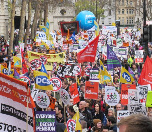 A section of the massive London march during the two million-strong November 30 public sector pensions strike last year