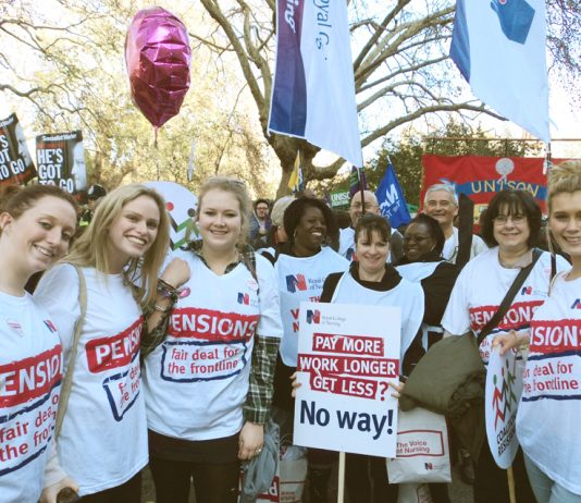 RCN student nurses joined the London demonstration in defence of public sector pensions on November 30 last year
