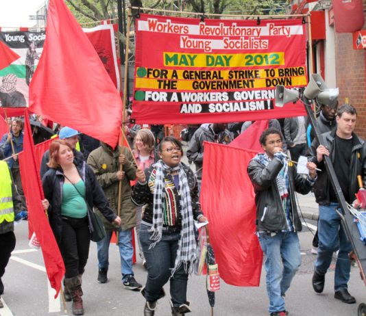 The WRP-YS contingent led the call for a general strike