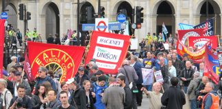 Trade union banners on the May Day march in London
