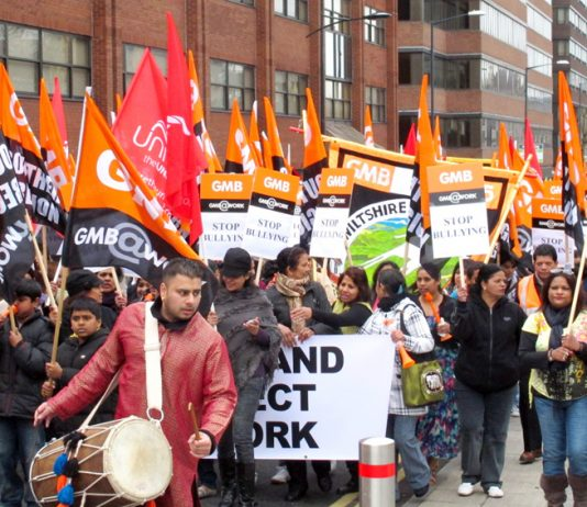 Carillion workers demonstrating through Swindon in March won big support for their struggle for respect at work and decent holidays