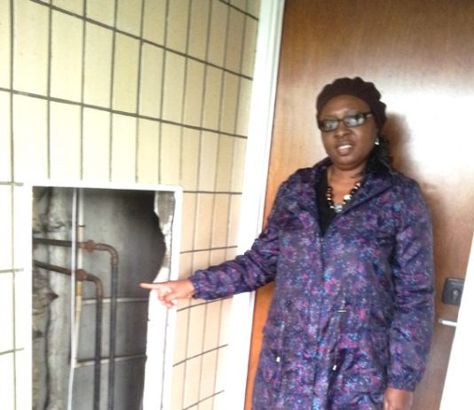 MRS MODUPE shows the open cavity where water and waste pipes remain uncovered
