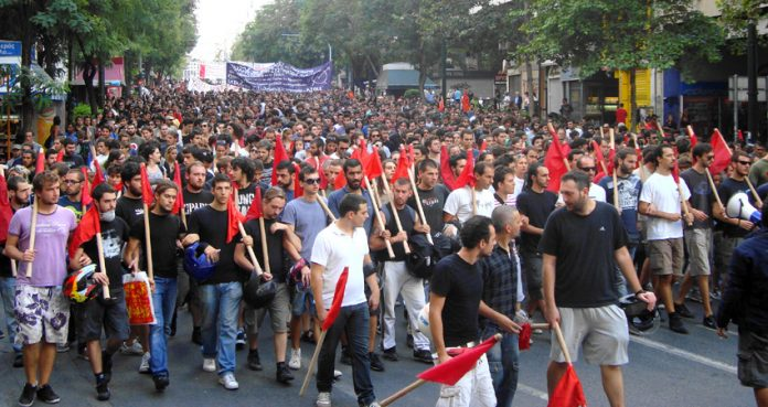 Greek youth marching against austerity