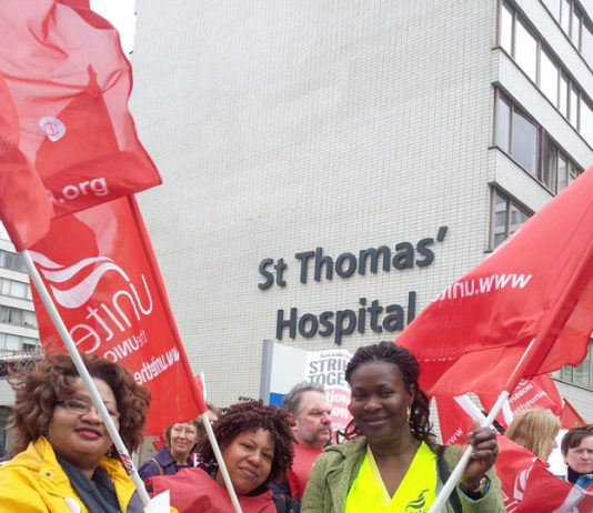 Unite members rallied at St Thomas' Hospital before marching to the meeting of the striking unions at Central Halls, Westminster