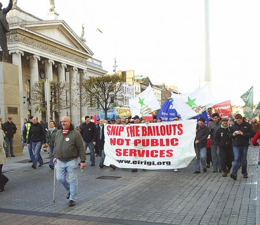 Irish workers marching last November against cuts in public services