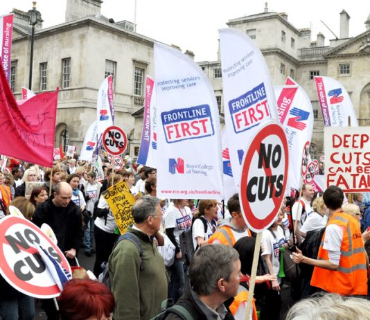RCN members marching on the TUC demonstration last March against the coalition's cuts that have cost over 3,000 nurses' jobs