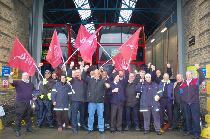 Busworkers in east London during a recent strike over pay