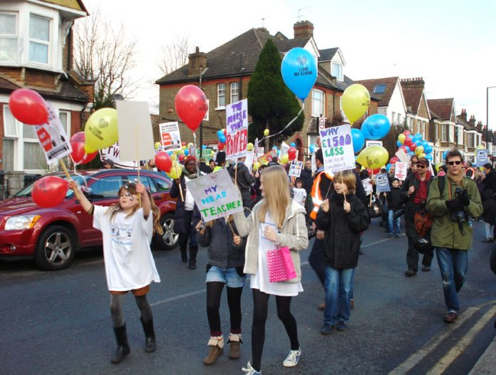 Downhills Primary School pupils leading the protest march through Hornsey against the forced Academy plan in January