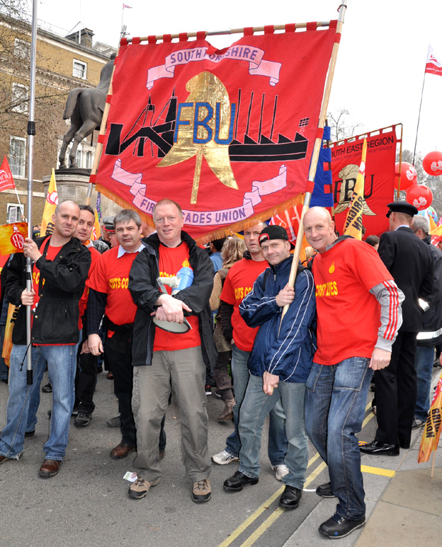 Yorkshire FBU members on the 500,000-strong TUC demonstration in March last year against the coalition government's cuts