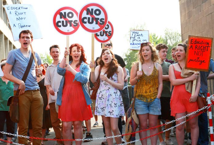 Students at UEA demanding the resignation of Universities Minister Willetts