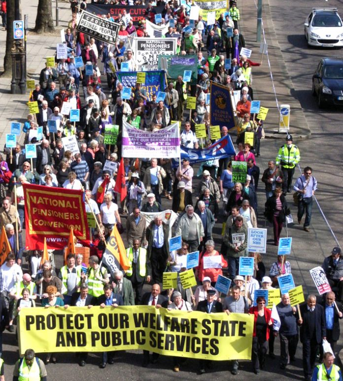 Demonstration in defence of the Welfare State and public services